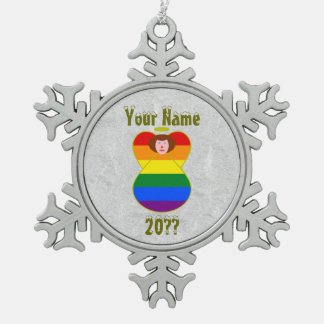 Gay Pride Angel Rainbow Flag Auburn Hair Snowflake Pewter Christmas Ornament