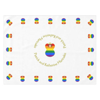 Gay Pride Angel Rainbow Flag Auburn Hair Tablecloth