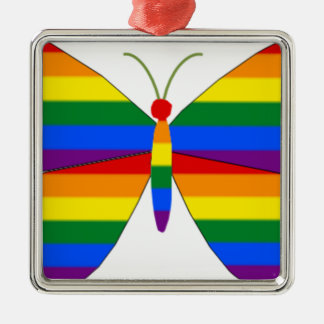 Gay Pride Butterfly Silver-Colored Square Ornament