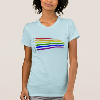 Gay Pride Distressed Waving Rainbow flag Pride T-Shirt