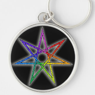 Gay Pride Fairy Star Silver-Colored Round Keychain