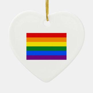 Gay Pride Flag Ceramic Heart Ornament