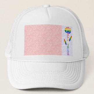 Gay Pride Flag Rose Pink White Background Trucker Hat