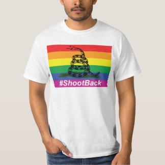 Gay Pride Gadsen Rattlesnake Flag Shoot Back T-Shirt