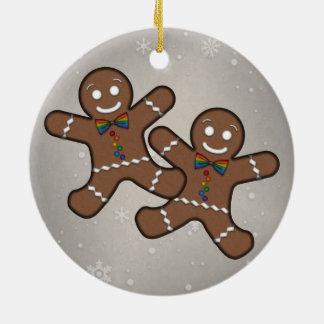 Gay Pride Gingerbread Couple Round Ceramic Ornament
