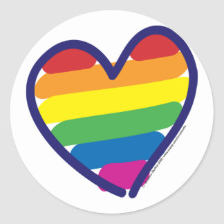 GAY-PRIDE-HEART-In-catneato Classic Round Sticker