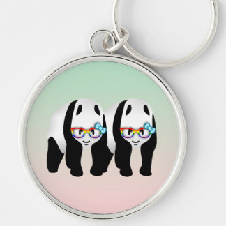 Gay Pride Hipster Pandas Silver-Colored Round Keychain