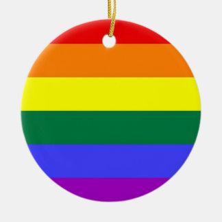 Gay Pride Horizontal Bar Rainbow Flag Round Ceramic Ornament