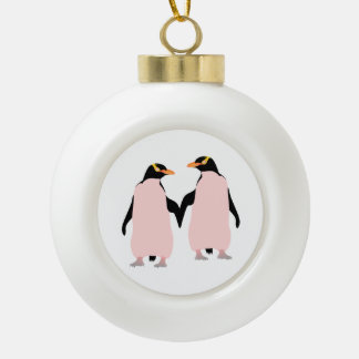 Gay Pride Lesbian Penguins Holding Hands Ceramic Ball Christmas Ornament