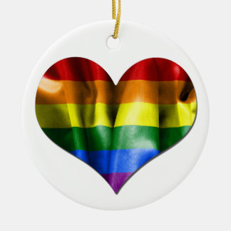 Gay Pride Love Heart Flag Round Christmas Ornament