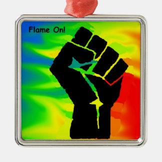 gay pride oriment Silver-Colored square ornament