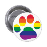 Gay Pride Paw Print 2 Inch Round Button