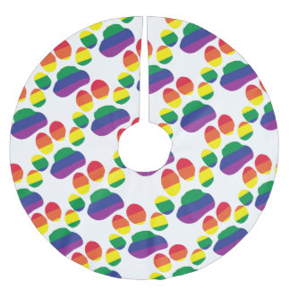 Gay-Pride-Paw-Print Brushed Polyester Tree Skirt