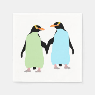 Gay Pride Penguins Holding Hands Disposable Napkin