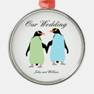 Gay Pride Penguins Holding Hands Silver-Colored Round Ornament