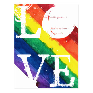 Gay Pride Post Card with Rainbow Flag