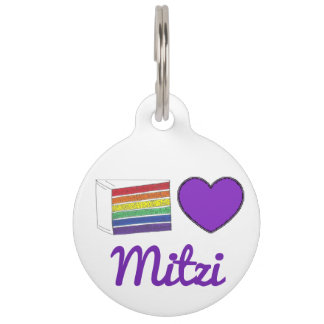 Gay Pride Rainbow Cake Purple Heart Pet Dog Pet Name Tag