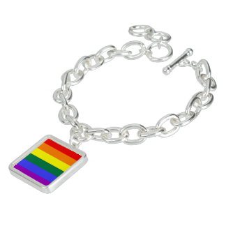 Gay Pride Rainbow Flag Charm Bracelet