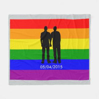 Gay Pride Rainbow Flag Custom Wedding Date Fleece Blanket