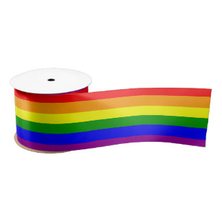 Gay Pride Rainbow Flag pattern Satin Ribbon