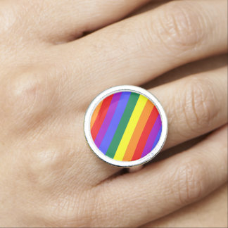 Gay Pride Rainbow Flag Photo Ring