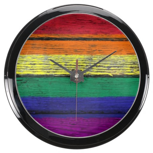 Gay Pride Rainbow Flag with Wood Grain Effect Aqua Clocks