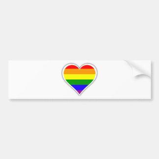 Gay pride rainbow heart bumper sticker