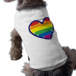 Gay Pride Rainbow Heart Doggie Tshirt
