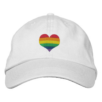 Gay Pride Rainbow Heart Embroidered Hats