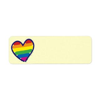 Gay Pride Rainbow Heart Return Address Label