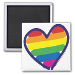 Gay Pride Rainbow Heart Square Magnet