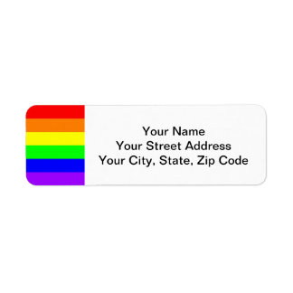 Gay Pride Rainbow Left Edge Return Address Label