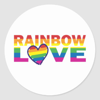 Gay Pride Rainbow Love Heart Classic Round Sticker