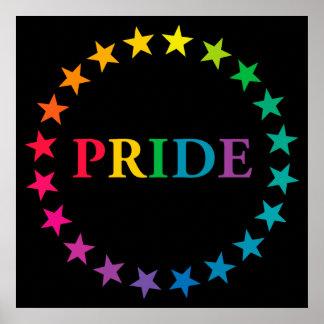 Gay Pride Rainbow Stars Poster