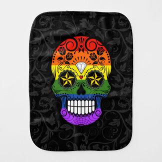 Gay Pride Rainbow Sugar Skull with Roses Burp Cloth