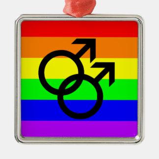Gay Pride Silver-Colored Square Ornament