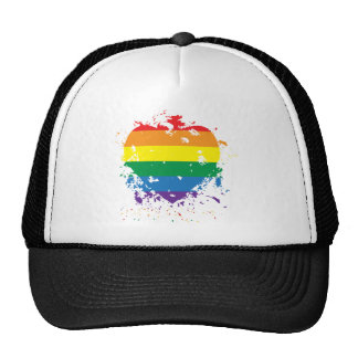 Gay-Pride-Splatter-Heart Trucker Hat