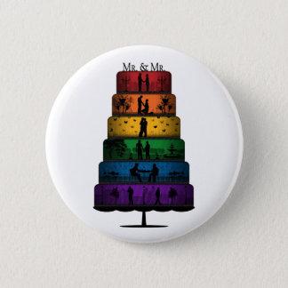 Gay Pride Wedding Cake 2 Inch Round Button