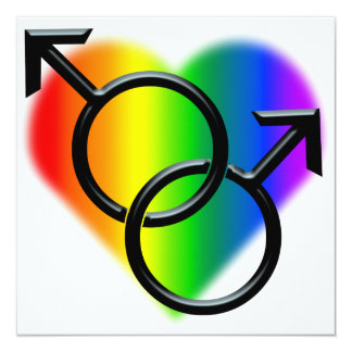 "Gay Pride Wedding Invitations Rainbow Love Cards 5.25"" Square Invitation Card"