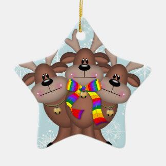 Gay Pride Whimsical Christmas Reindeer Ceramic Star Ornament