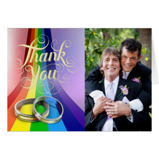 Gay Rainbow and Rings Wedding Thank You Card
