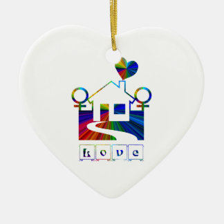 Gay rainbow home- LOVE Ceramic Ornament