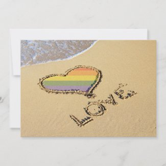 Gay Rainbow Love Heart In The Sand Save The Date