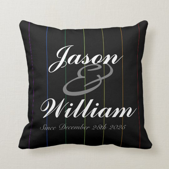 Gay Rainbow Pinstriped Custom Anniversary Pillow