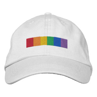 Gay Rainbow Pride Flag Strip Embroidered Hat