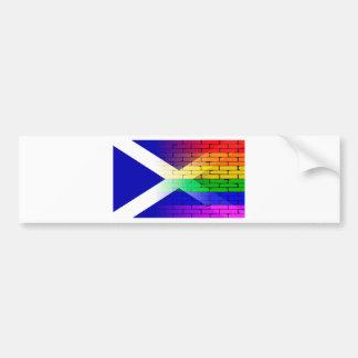 Gay Rainbow Wall Scotland Flag Bumper Sticker