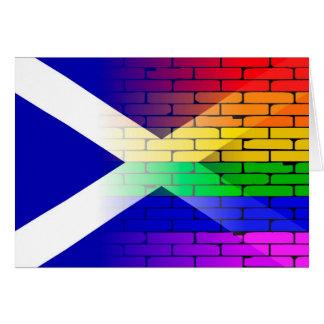 Gay Rainbow Wall Scotland Flag Card