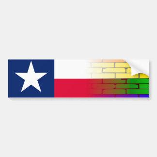 Gay Rainbow Wall Texan Flag Bumper Sticker