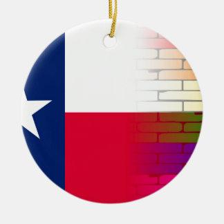 Gay Rainbow Wall Texan Flag Round Ceramic Ornament