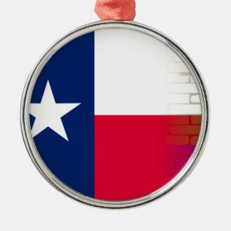 Gay Rainbow Wall Texan Flag Silver-Colored Round Ornament